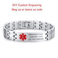 Silver Medical Alert ID Men Bracelet Chain SOS Emergency Personalized Engraving