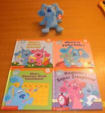 Lot Nick Jr Blues Clues Ty Plush Beanbag Blue Dog &4 Hardcover Books