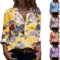 Women Floral Print Loose Shirts Blouse Tops Ladies Long Sleeve Loose T-shirt