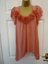 NEXT Ladies Size 10 Peach Pink Floral Lace Stretchy Boho Hanky Hem Tunic Top