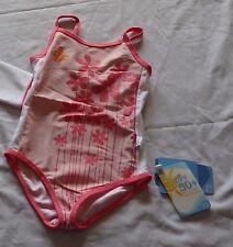 Girls size 7 One piece BATHERS Pink flowers White Soda  UPF50+  NEW