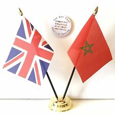 United Kingdom & Morocco new Double Friendship Table Flags & Badge Set