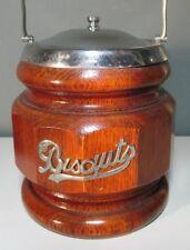 Vintage English Oak BISCUIT JAR/BARREL with CERAMIC LINER ~ Excellent Condition