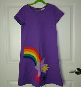 Girls Hanna Andersson Follow the Sun Slipover Dress Purple Stars/Rainbow 150/12