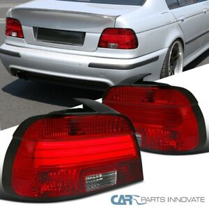 For 01-03 BMW E39 5-Series 525i 530i 540i Red/Clear Tail Lights Lamps w/ LED Bar