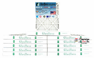 Glasfloss 20x25x2 - MERV 10 - (Qty:12) - Pleated  Air Furnace Filter Made in USA