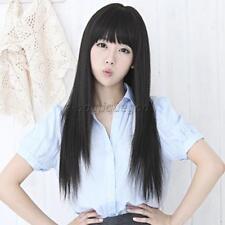 Perruque Femme Longue Cheveux Naturel Cosplay Coiffure Extension Décor Noir