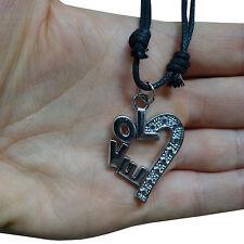 Valentines Day Love Heart Pendant Chain Necklace Silver Tone Romantic Present