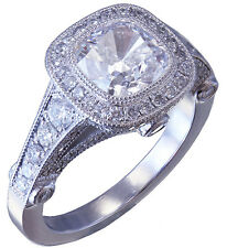 14k White Gold Cushion Cut Diamond Engagement Ring Bezel Set Antique Deco 1.90ct