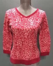 Talbots Womens Sweater Pink Floral  V-neck Cotton Blend Size Med