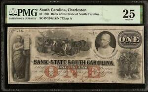 1861 $1 DOLLAR SOUTH CAROLINA BANK NOTE LARGE CURRENCY MONEY CIVIL WAR PMG 25