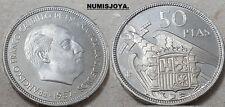 FRANCO. ESCASA moneda de 50 Pesetas PROFF año 1957 en estrella 72. AUTENTICA.