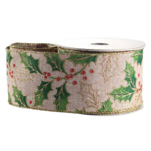 Luxury Natural Holly Print Christmas Ribbon - 1m length