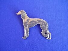 Feathered saluki Pewter pin Standing #15H Dog Jewelry by Cindy A. Conter cac