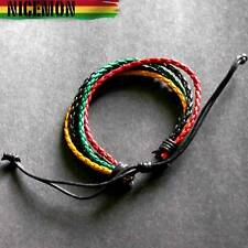 Rasta Leather Wrist Bracelet Hippie Hawaii Negril Rico Dub Ras Reggae Marley RGY