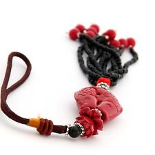 Double Fishes Pendant Car Hanging Hand Crafted Red Coral Lucky
