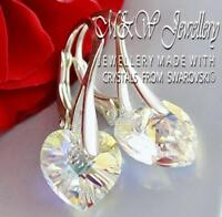 925 STERLING SILVER EARRINGS CRYSTALS FROM SWAROVSKI® 10MM HEART - CRYSTAL AB