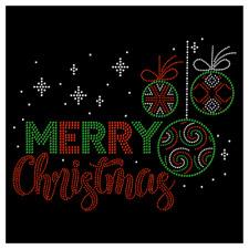 Merry Christmas Ornament Holiday Festive Rhinestone Hotfix Iron On Transfer