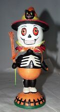 Dept 56 Halloween Bobblehead Figurine Skeleton Scarecrow w/ Black Cat Retired!