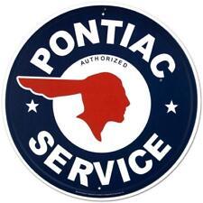 Pontiac Authorized Service Car Dealer Logo Round Retro Vintage Tin Sign