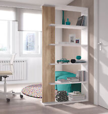 Estanteria o libreria en color blanco con detalle en color roble canadian 180 cm