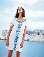 NEW Boden Corsica Kaftan Tunic Dress Cover-up Floral Embroidery Size US 4