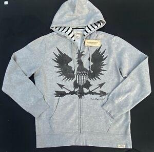 Ralph Lauren Denim Supply Men XL War Eagle Graphics Fleece Hoodie Sweatshirt NEW