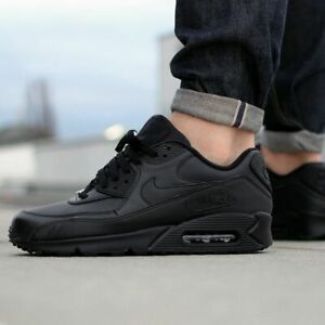 NIKE AIR MAX 90 LEATHER 302519-001 MEN RUNNING SHOES BLACK LIGHTWEIGHT AUTHENTIC
