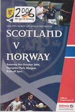 Programma / Programme Scotland v Norway 09-10-2004 FIFA World Cup 2006 Qualifier