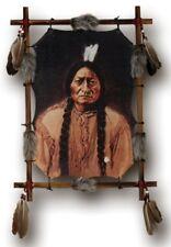Indianer Bild, Druck im Rundholzrahmen gespannt, Kunstfell, Federn, 54x39cm