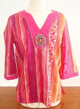 Notations Organic Magenta & Orange Patterned Beaded Blouse, Size S