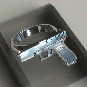 Exaggerated Silver Pistol Ring Punk Desert Eagle Ring Men Party Jewelry Sz 6-11
