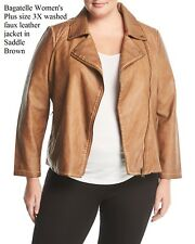 Bagatelle Women's Plus size 3X Washed Faux-Leather Jacket in Walnut Brown, NWT