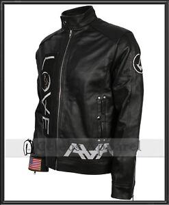 Angels and Airwaves Tom Delonge AVA Love Mens Biker Black Leather Jacket