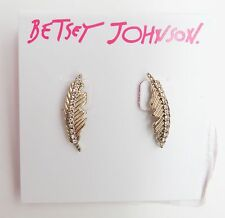 Betsey Johnson Angels and Wings Feather Stud Earrings Gold Tone NEW