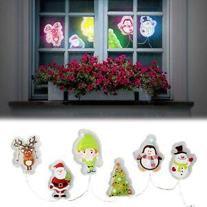 Christmas Light Up Gel Window Glass Door Stickers Coloured LED Decorations Santa