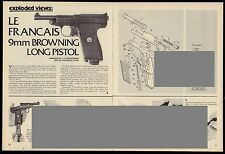 1980 Le Francais 9mm Browning Pistol Exploded View~Parts List~Assembly Article