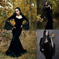 Long Velvet Dark Gueen Morticia Addams Gothic Victorian Evening Dress Gowns