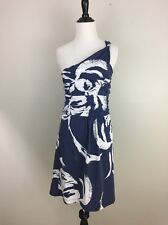 Tracy Negoshian Blue and White One Shoulder Dress, Mild Stain, Small