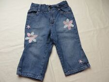 Riders Girls Jeans 5 Pocket Style Blue Pink Embroidered Flowers Size 18 Mo #7065