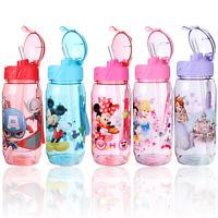 450ml Kids Children School Drinking Cup Disney Cartoon Straw Water Bottle