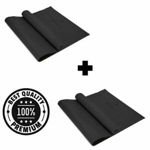 Durable 6mm Yoga Mat Non-Slip Exercise Pilates Gym Home Camping Pad PACK 2 BLACK
