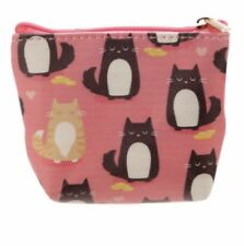 Cat Purse Wallet Coins Pink Zip Feline Cute Children Adult Animal Gift