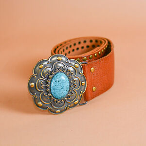 Brown Leather Jeans Belt Turquoise Buckle Vintage Unisex Women's Large XLarge