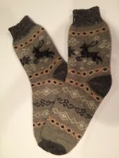 Knitted Sheep wool men's socks thick warm winter Deer Grey Brown 11-12-13