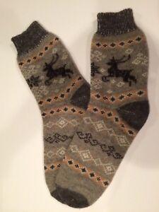 Knitted Sheep wool men's socks thick warm winter Deer Grey Brown 11-12-13