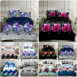 Beautiful 3D Effect 4 Piece Printed Duvet Quilt Cover Luxury Complet Bedding Set