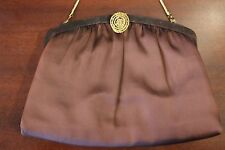 Vintage Chocolate Brown Harry Levine Hl Usa Clutch with Gold Clasp