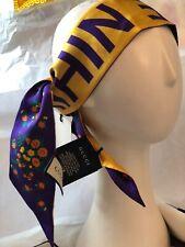 Gucci Women's Silk Twill Gold/Purple Reversible Flower Neck Skinny Scarf, IT