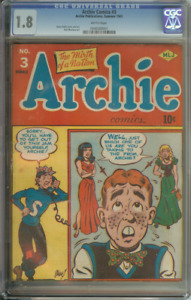 ARCHIE COMICS #3 CGC 1.8 BRITTLE PAGES // ONLY 38 UNIVERSAL COPIES ON CENSUS